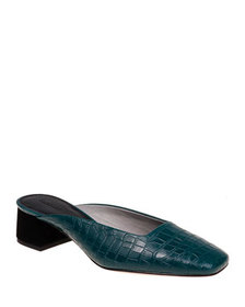 Mara & Mine Daisy Croc-Embossed Leather Slide Mule