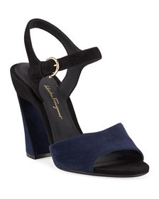 Salvatore Ferragamo Aede Two-Tone Suede Sandals