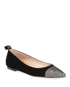 Gianvito Rossi Velvet and Strass Ballet Flats