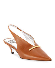 Givenchy Leather Kitten-Heel Slingback Pumps with