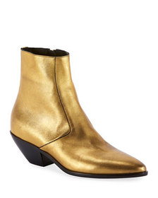 Saint Laurent West Metallic Zip Booties