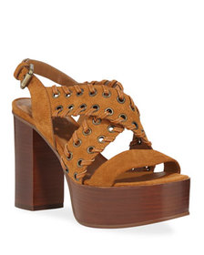 See by Chloe Suede Platform Stitched Sandals