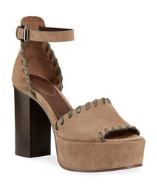 See by Chloe Whipstitched Suede Platform Sandals