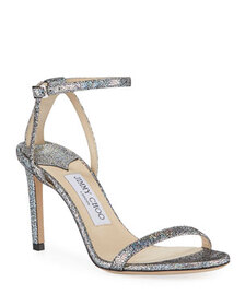 Jimmy Choo Minny Iridescent Leather Strappy Sandal