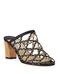 Jimmy Choo Dean Braided Rope & Leather Cutout Slid