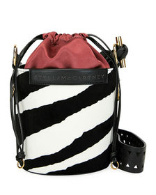 Stella McCartney Small Zebra-Print Velvet Bucket B