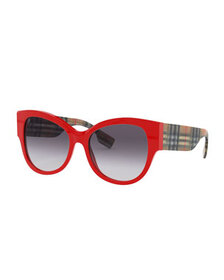 Burberry Butterfly Acetate Sunglasses w/ Check Arm