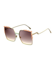 Fendi Can Eye Studded Oversized Square Sunglasses,
