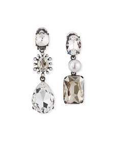 Oscar de la Renta Bold Mismatch Jewel Earrings, Si