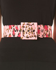 Carolina Herrera Leopard-Print Square Buckle Belt