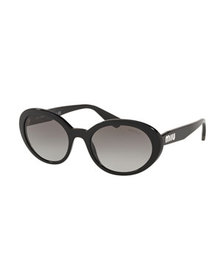 Miu Miu Mirrored Acetate Oval Sunglasses