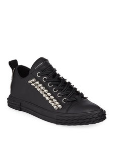 Giuseppe Zanotti Men's Studded Blabber Leather Sne