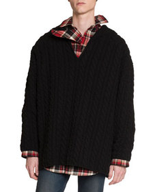 Balenciaga Men's Oversized Cable-Knit Wool Sweater