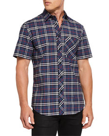Burberry Men's Check Short-Sleeve Sport Shirt