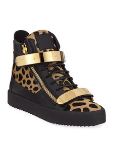 Giuseppe Zanotti Men's Leopard High-Top Calf Hair