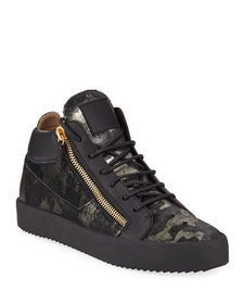 Giuseppe Zanotti Men's Camo Double-Zip Leather Sne