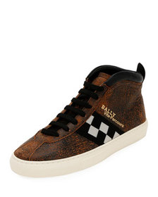 Bally Men's Vita Parcours Distressed Leather Check
