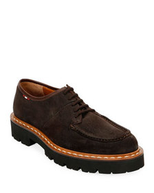 Bally Men's Lyndon Suede Lugged-Sole Derby Shoes