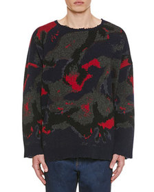 Valentino Men's Destroyed Camo Wool Sweater