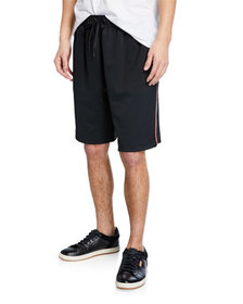 Burberry Men's Adrian Drawcord Side-Stripe Shorts