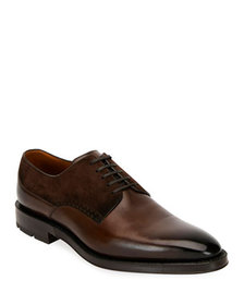 Bally Men's Badux Injected Leather Lace-Up Derby S