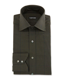 TOM FORD Men's Prince of Wales Plaid Dress Shirt,