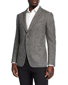 TOM FORD Men's Herringbone Cashmere-Blend Two-Butt