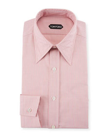 TOM FORD Men's Hopsack Striped Point-Collar Dress