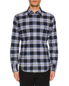 TOM FORD Men's Brushed Tonal Overcheck Western Shi