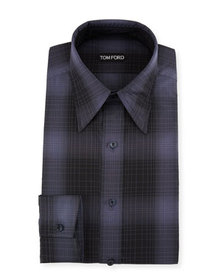 TOM FORD Men's Optical Check Pointed-Collar Dress