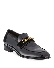 TOM FORD Patent Leather Chain-Link Loafer, Black
