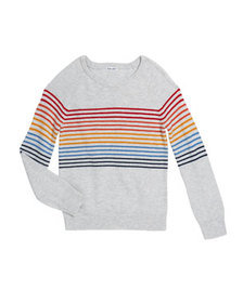 Splendid Girl's Rainbow Stripe Knit Top, Size 7-14
