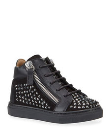 Giuseppe Zanotti Boy's Studded High-Top Sneakers,