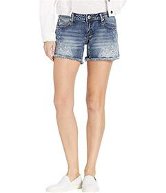 Stetson Frayed Medium Wash Denim Shorts with Paisl