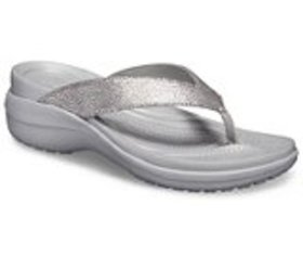 Women's Capri Metallic Texture Wedge Flip