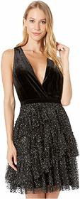 BCBGMAXAZRIA Velvet Halter Cocktail Dress with Tul