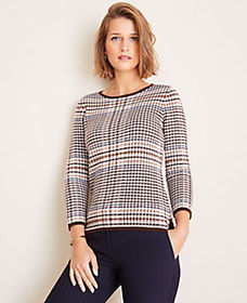 Tipped Plaid 3/4 Sleeve Sweater
