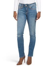 SEVEN7 Mid Rise Thick Stitch Straight Jeans