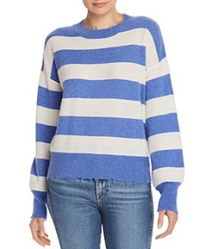 AQUA - Distressed Striped Cashmere Sweater - 100%