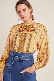 Anthropologie Goldie Embroidered Blouse