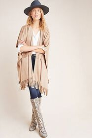 Anthropologie Faux Suede Poncho