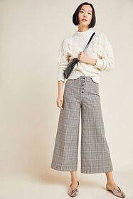 Anthropologie Roma Plaid Chenille Trousers