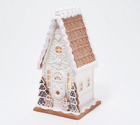 """As Is"" 12"" Illuminated Farmhouse Gingerbread Hous"