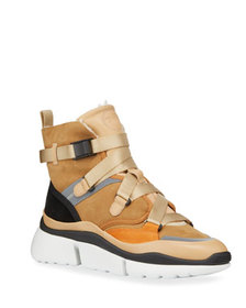 Chloe Sonnie Suede Shearling-Lined High-Top Sneake