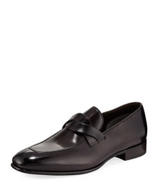 TOM FORD Twist-Front Leather Loafer
