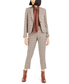 Plaid Notch-Collar Jacket, Straight-Leg Pants & Bo