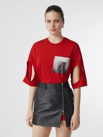 Burberry Cut-out Detail Montage Print Oversized T-