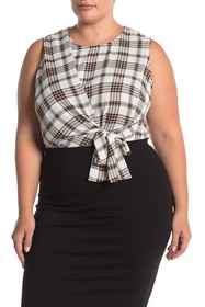 Vince Camuto Plaid Sleeveless Asymmetrical Tie Fro