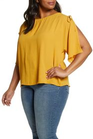 Vince Camuto Split Sleeve Georgette Blouse (Plus S