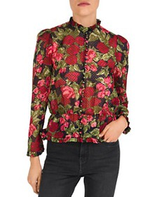 The Kooples - Painted Roses Embroidered Silk Blous